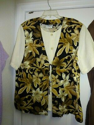 332b6507 Alfred Dunner Cream Brown Black Blouse Size 18 Button Front Short Sleeve  Blouse