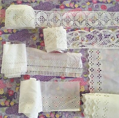 BULK white cotton lace/ trim, over 22 metres in total.