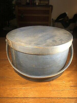 Early Antique Pantry Box With Original Blue Paint