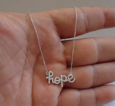 925 Sterling Silver Hope Necklace Pendant W/ .75 Ct Lab Diamonds/ 18''