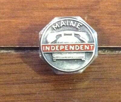 Maine Independent Telephone Sterling Lapel Button Nice