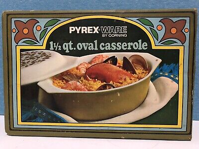 Vintage Pyrex NEW IN SEALED BOX 1-1/2 Quart VERDE Oval Casserole Avocado Green