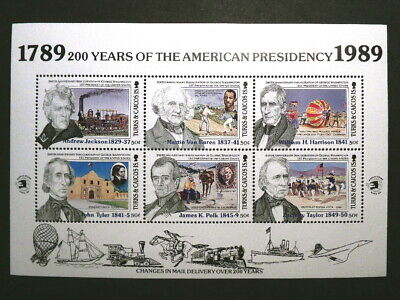 Complete Set of 7 Souvenir Sheets w/ Dominica Stamps - US Presidents 1789-1989