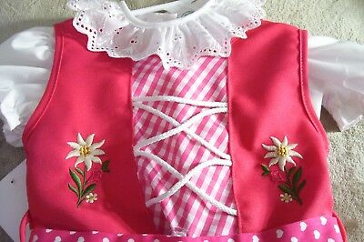 2T,Girls,Kids Germany,German,Trachten,Oktoberfest,Dirndl Dress,3-pc.,Fuchsia