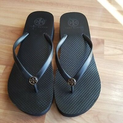 e7d37c43d2c9b TORY BURCH WEDGE Thin Flip Flop Black Size 9 New -  49.50