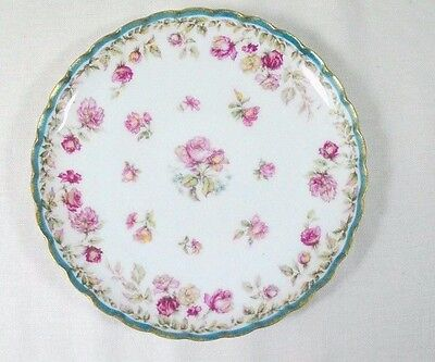 """Haviland Limoges Pink / Yellow Roses Green Band Coupe Salad Plate 7 1/4"""""""