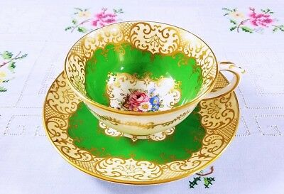 Crown Staffordshire England Green Floral Bouquet Gold Decorated Tea Cup/Saucer