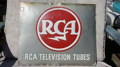 "Vintage Rare RCA Television Tubes Metal Advertising Sign- 12 x 14.5""-Radio-TV"