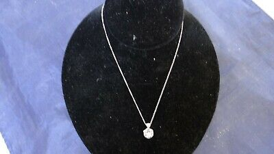 Very Fine 14K White Gold Diamond Pendant And Necklace