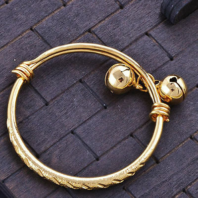 Hot Etched Baby-Girls-Toddler Yellow Gold Filled Adjustable Bangle With Bells