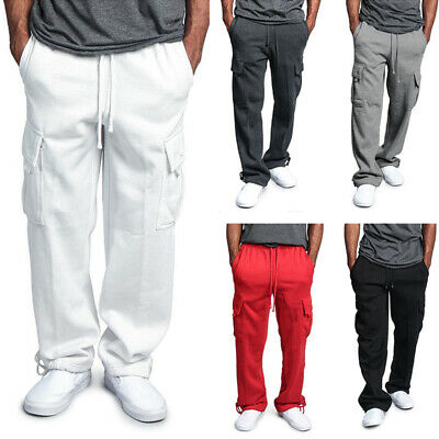 5140571d2f93 Men Sweatpants Work Loose Trousers Drawstring Cargo Combat Casual Long Pants