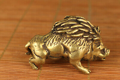 chinese old brass hand carved wild boar statue netsuke collectable ornament