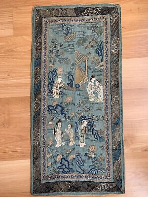 Pair Chinese Qing Period Antique Silk Sleeves With Story