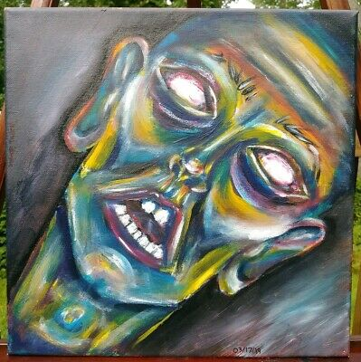 Original acrylic painting on 12x12 inch canvas, unframed. Hand-painted portrait