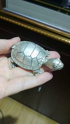 Chinese handwork Old silver God Turtle WORDS Statue 19th