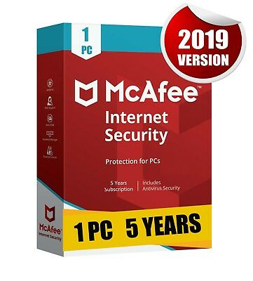 Mcafee Internet Security 2019 1 Pc 5 Years Antivirus Best Protection Pc Laptop