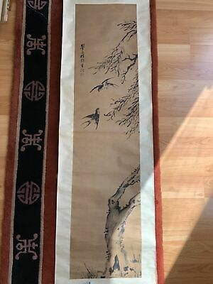 Long Chinese Repulbic Finger Painting On Paper Antique Scroll With Birds