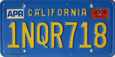 USA Number Licence Plate CALIFORNIA  BLUE