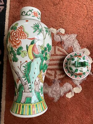 Large Chinese Export Famille Verte Antique Porcelain Vase With Lid