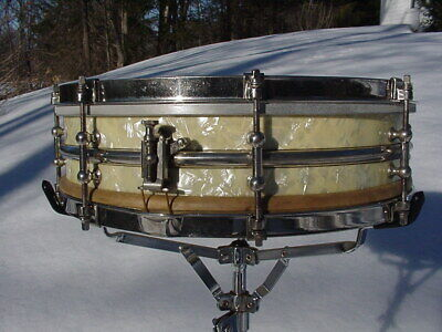 1920s Ludwig drums 4x14 vintage chrome over brass snare drum 8 tube lug player