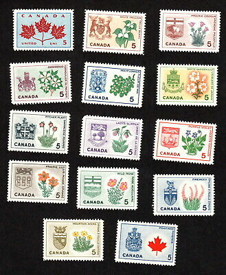 Canada Mint Never Hinged Set Of Provincial Flowers & Coat-Of-Arms Stamps