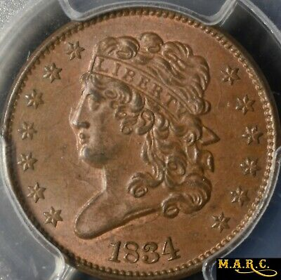 1834 MS64BN PCGS 1/2C Classic Head Half Cent, Clashed Dies! Great Color! MARC