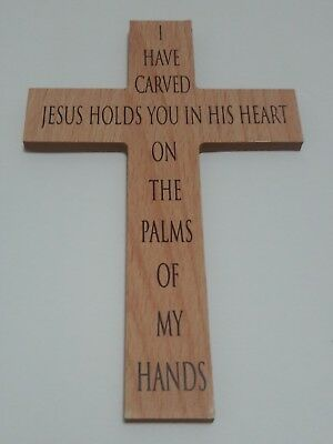 Olive Wood Christian Wall Cross I have carved Jesus holds you in his heart the