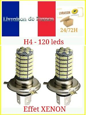 2 Ampoules H4 120 LED 100W 4800k SMD Xenon Ultra Blanc Froid Phare 12V auto moto