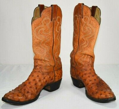 21927e079a5 JUSTIN COWBOY BOOTS Full Quill Ostrich Men's 9D Style X2602 Orange Tan  Leather