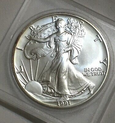 1991 Silver Walking Liberty American Eagle One Dollar Coin . .999 Fine 1 Troy Oz