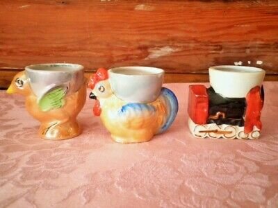 Vintage Egg Cups X3 Rooster Chick Train Childs Easter Egg Cups Novelty  1950'S