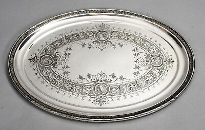 """Antique Silver Plated Oval Tray Medallion Pattern by Wilcox 16-1/4"""" x 12-1/8"""""""