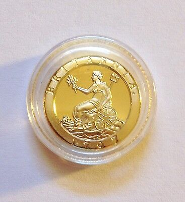 "Awesome 1797  ""BRITANNIA CARTWHEEL"" Mini Coin Finished in 24 Karat Gold a"