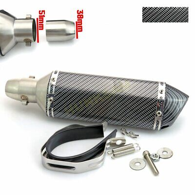 Universal 38-51mm Carbon Fiber Exhaust Muffler Pipe Street/Sport Bike ATV Quad