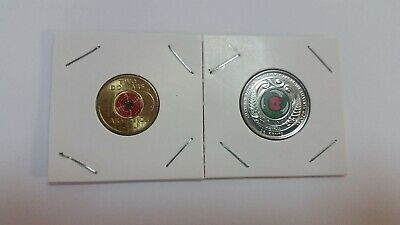 2018 ARMISTICE $2 Red Poppy & New Zealand 50c coins. Uncirculated in 2x2 holders