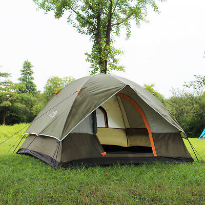 210T Waterproof 3-4 Person Double Layer Camping Picnic Tent Outdoor Shelter+Bag