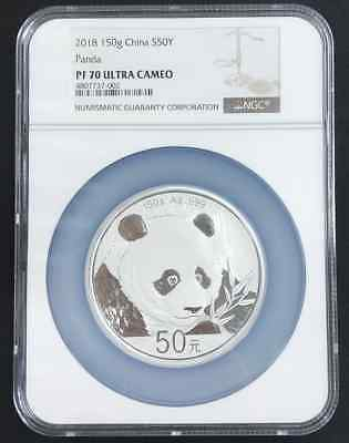 China 2018 panda 150g silver coin S50Y NGC PF70 Ultra Cameo with certificate