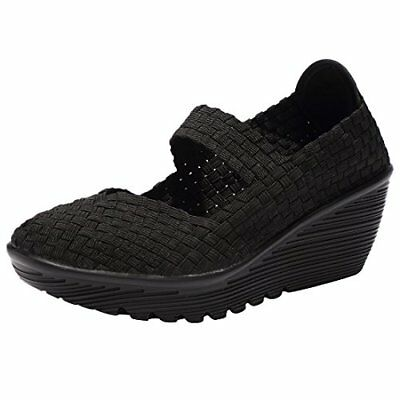 735f33a472ae EnllerviiD Women Wedge Mary Jane Sandals Closed Toe Weave BLACK Size 6 US