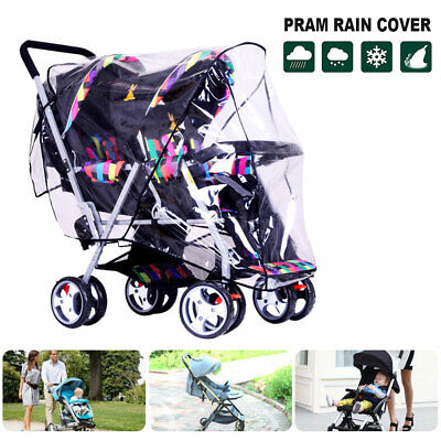 Baby Twin Stroller Rain Cover Universal Pram Baby Infant Double Pushchair Wind