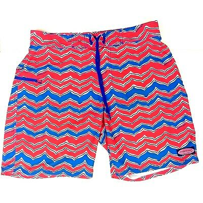 b808744ff0 Vineyard Vines Men's Size 32 Pink Blue Striped Swim Trunks Board Shorts EUC