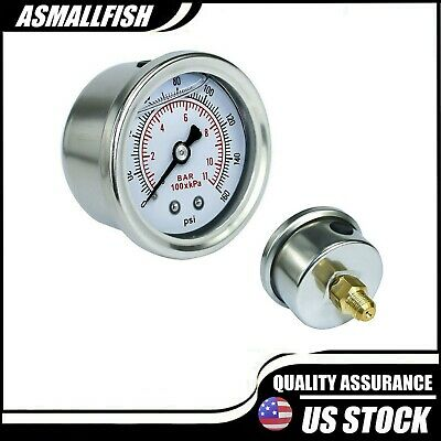 Adjustable 0-160 PSI Fuel Oil Pressure Regulator Gauge Chrome Silver Universal