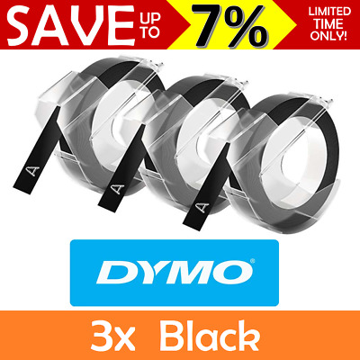 NEW 3x Pack Dymo Xpress Embossing Tape Refill Recharges 9mm x 3m Black Organiser