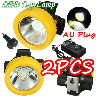 2PCS 4500LUX Miners Cordless Power LED Helmet Light Safety Head Cap Lamp Torch