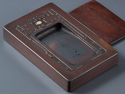 Chinese OLD INK STONE with Wooden Lid  / W 15.2× D 9.5 × H 2.5 [cm] , 785g