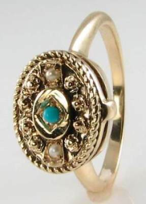 Dainty 9K 9Ct Gold Locket Persian Turquoise Pearl Art Deco Ins Ring Free Resize