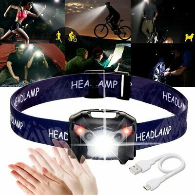 LED Head Torch Headlight Lamp Camping Induction Headlamp USB Rechargeable IPX4