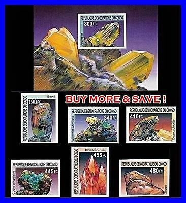 CONGO/ZAIRE 2002 MINERALS + S/SHEET imperforated MNH CV$30.00