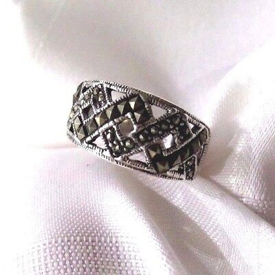 """WOMEN 100/% 925 sterling silver Marcasite /""""Buckle Belt/"""" Ring size M1//2 to R"""