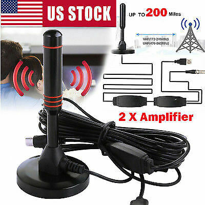 Antenna 1080P TV Digital HD 200 Mile Range Skywire TV Indoor 4K 16ft Coax Cable*