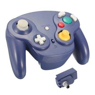 BLUE Wireless Gamecube Controller Wavebird Style w/ Adapter for Nintendo NGC GC
